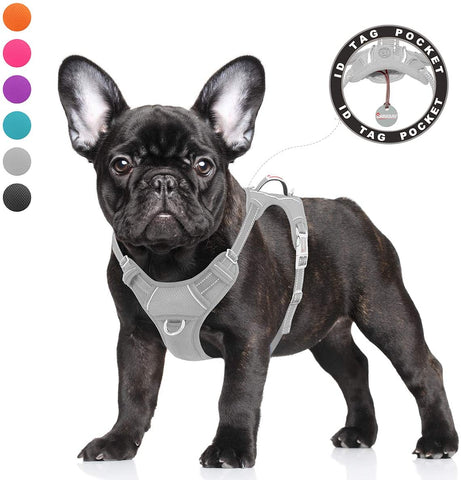 BARKBAY No Pull Reflective Dog Harness with Front Clip and Easy Control Handle ID tag Pocket