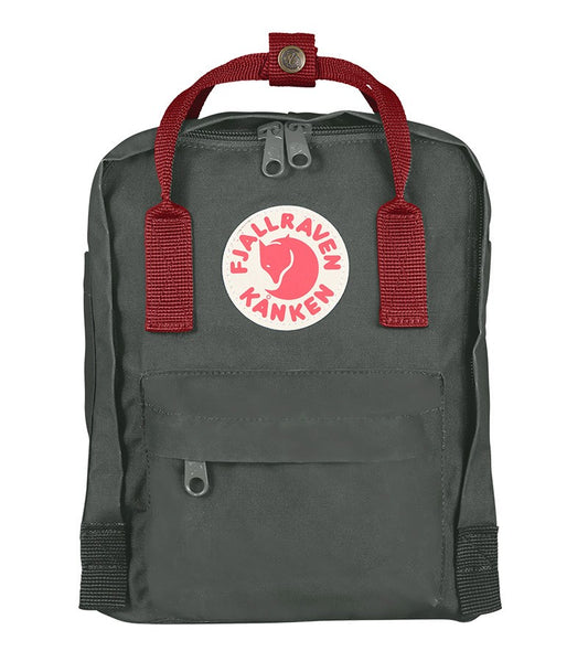 Kanken Mini backpack - Dark Green with Red Strap