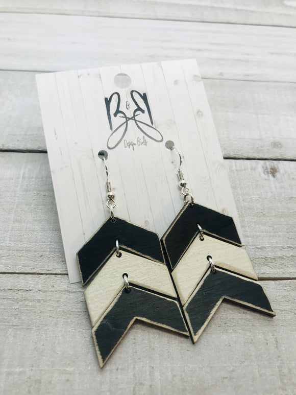 Wood Chevron - Black & White