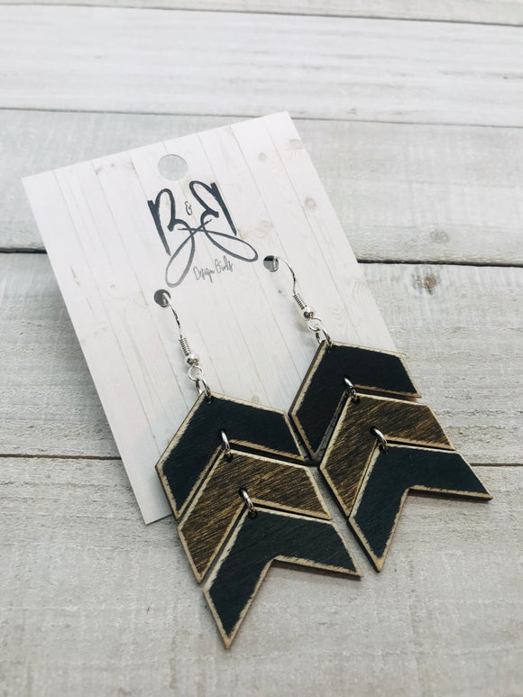 Wood Chevron - Black & Brown
