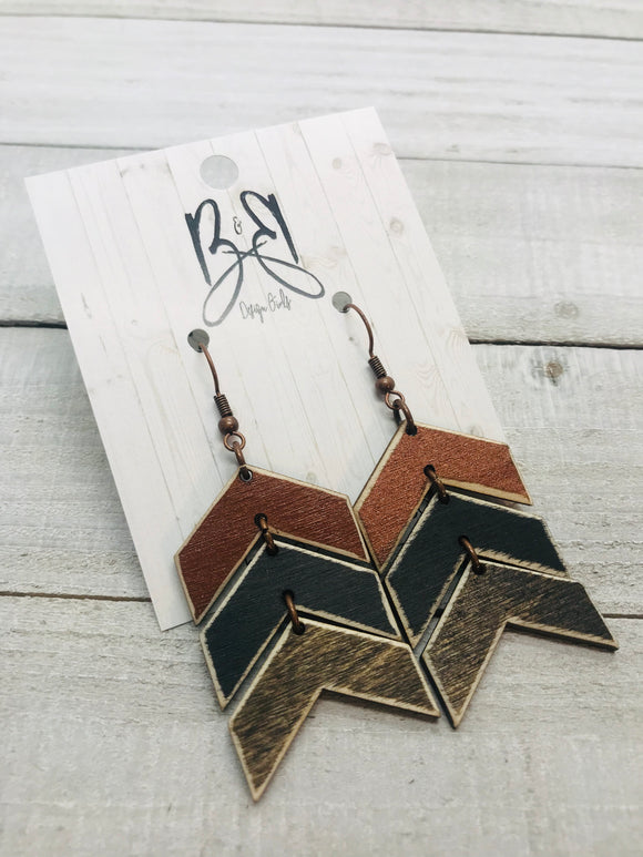 Wood Chevron - Cooper, Black & Brown