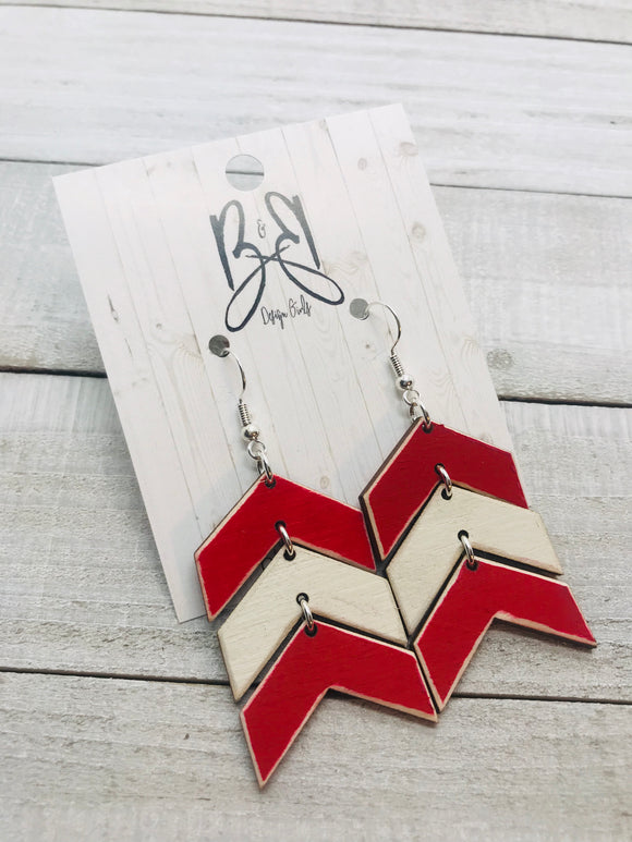 Wood Chevron - Red & White