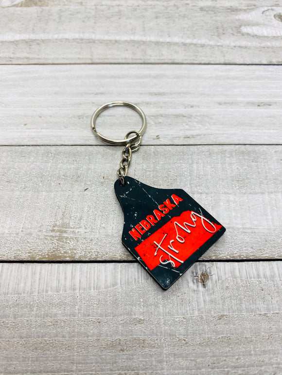 Nebraska Strong Cattle Tag Keychain - Black
