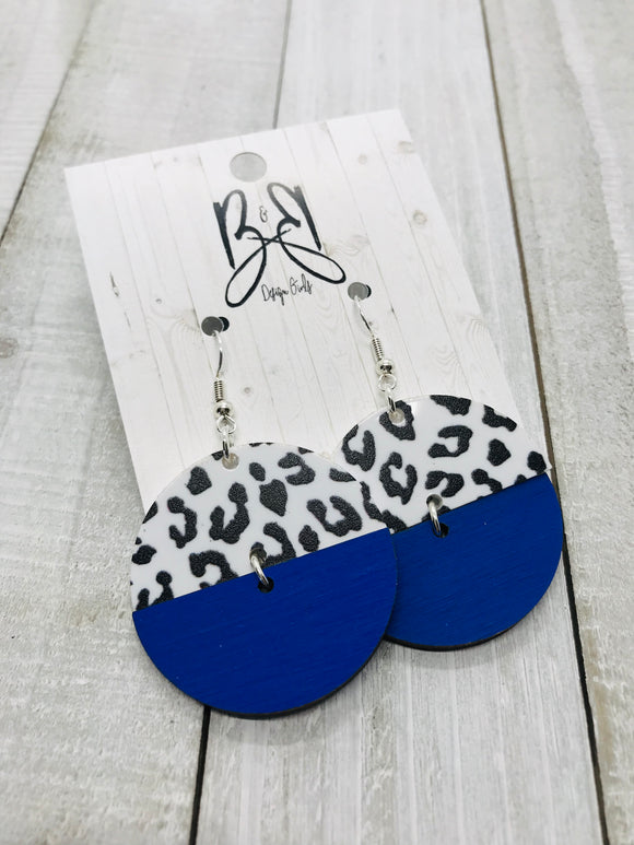 Mixed Round - B&W Leopard & Royal Blue Wood