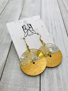 Mixed Round - Gold Foil Acrylic & Gold Wood