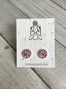Leather Studs - Red and White