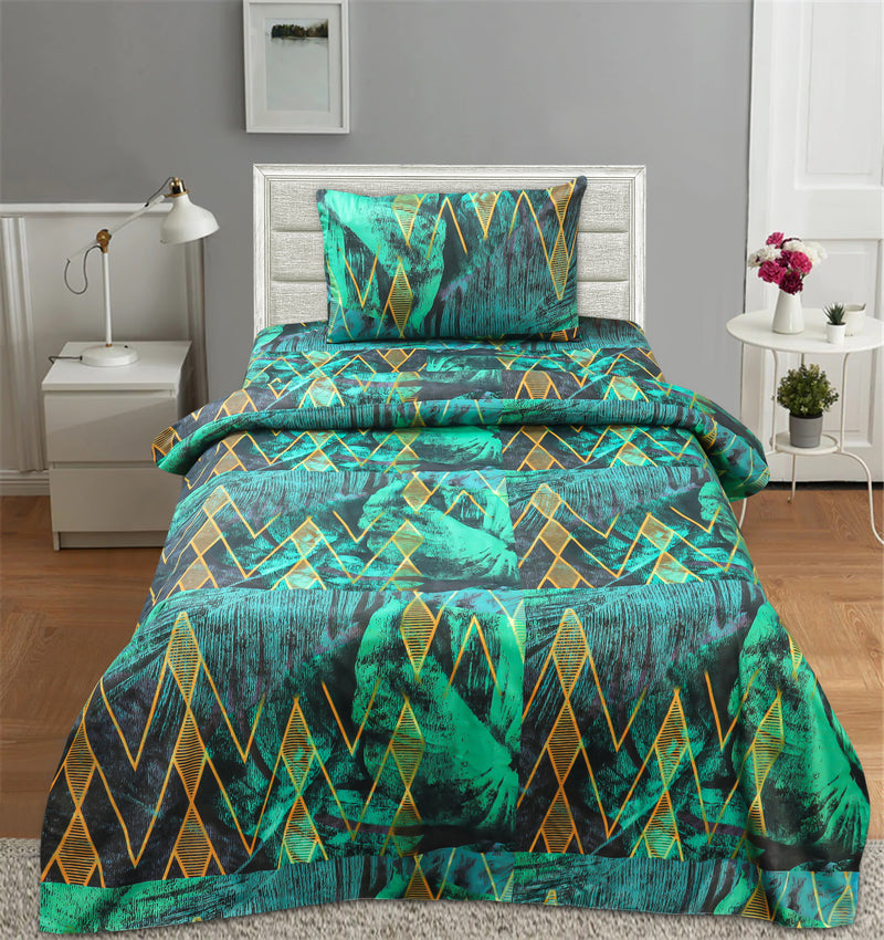 Single Satin Bed Sheet With 1 Pillow - Aperture
