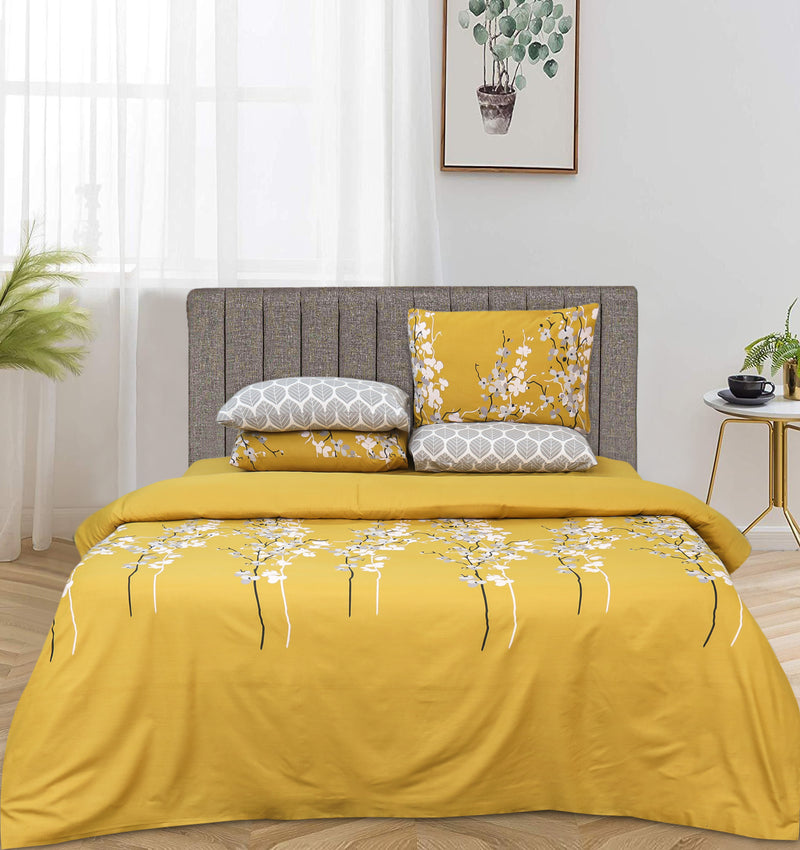 4 Pillows Bed Sheet - Flowery Yellow