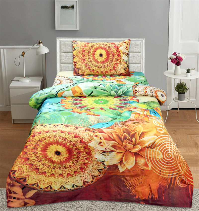 Single Bed Sheet Satin With 1 Pillow