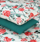 6 PCs Cotton Satin Duvet Set - Trendy Floral