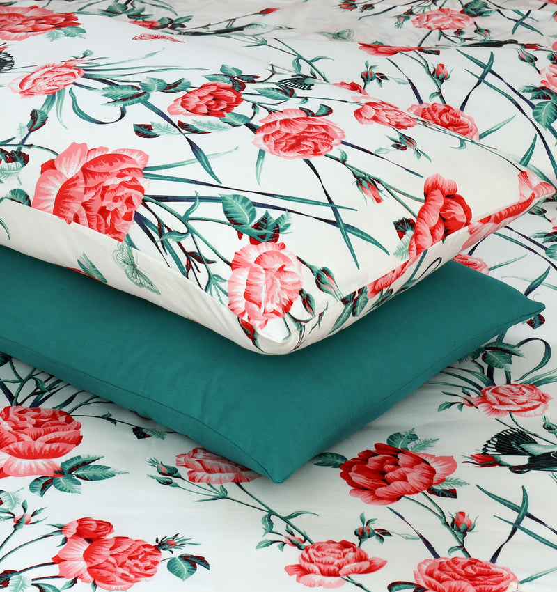 4 Pillows Satin Bed Sheet - Trendy Floral