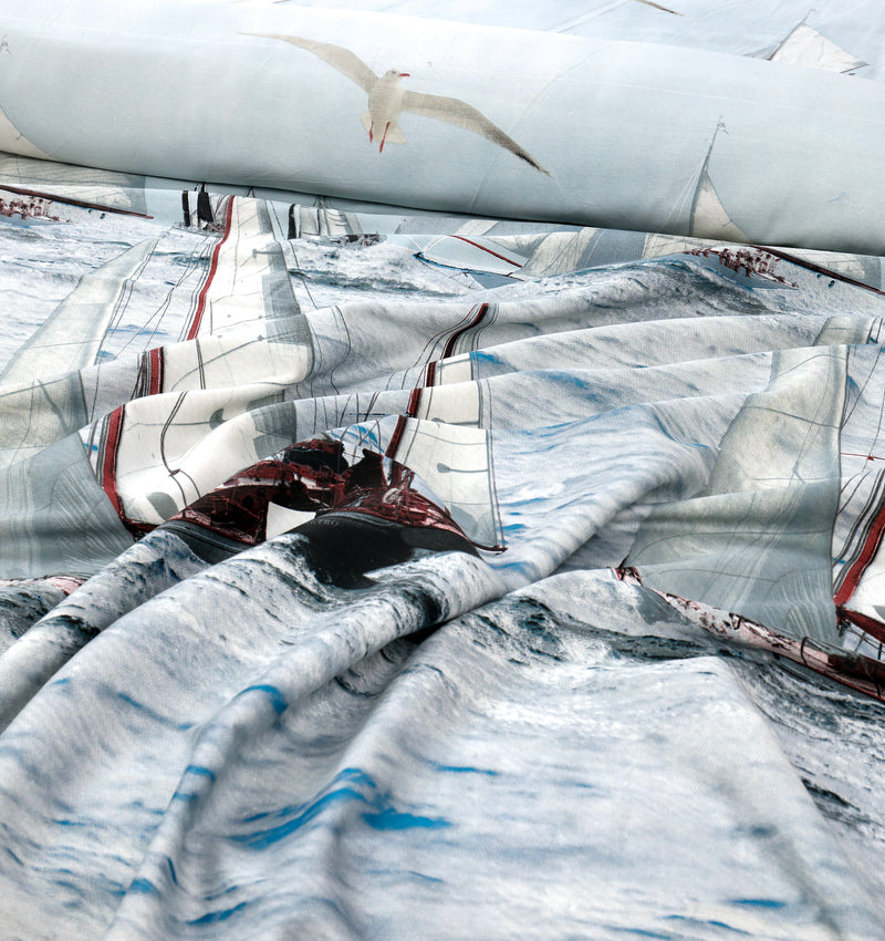 Cotton King Digital Satin Bed Sheet - Sailboat
