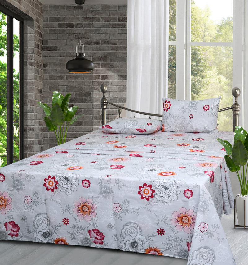 Cotton King Bed Sheet - Camellia