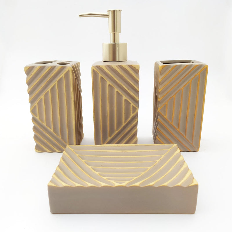 Triangle Texture Bath Room Set - Light Brown