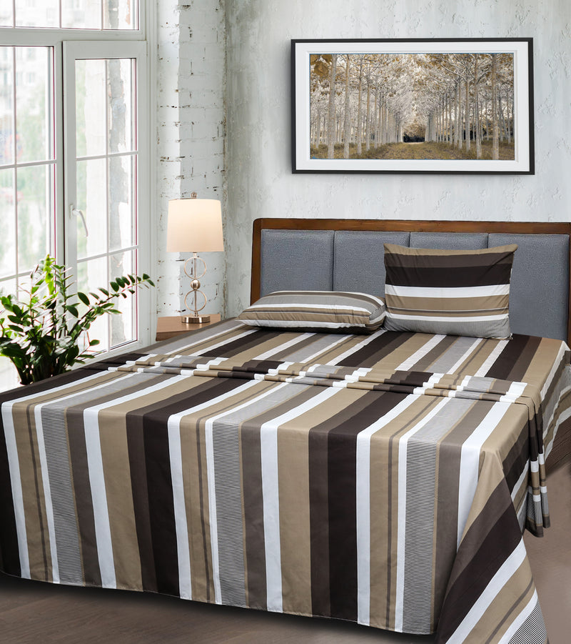 Egyptian Cotton Bed Sheet - Brown Stripe