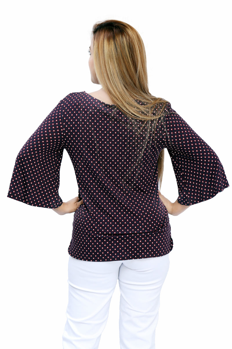 Printed Top With Sleeves - Maroon Polka