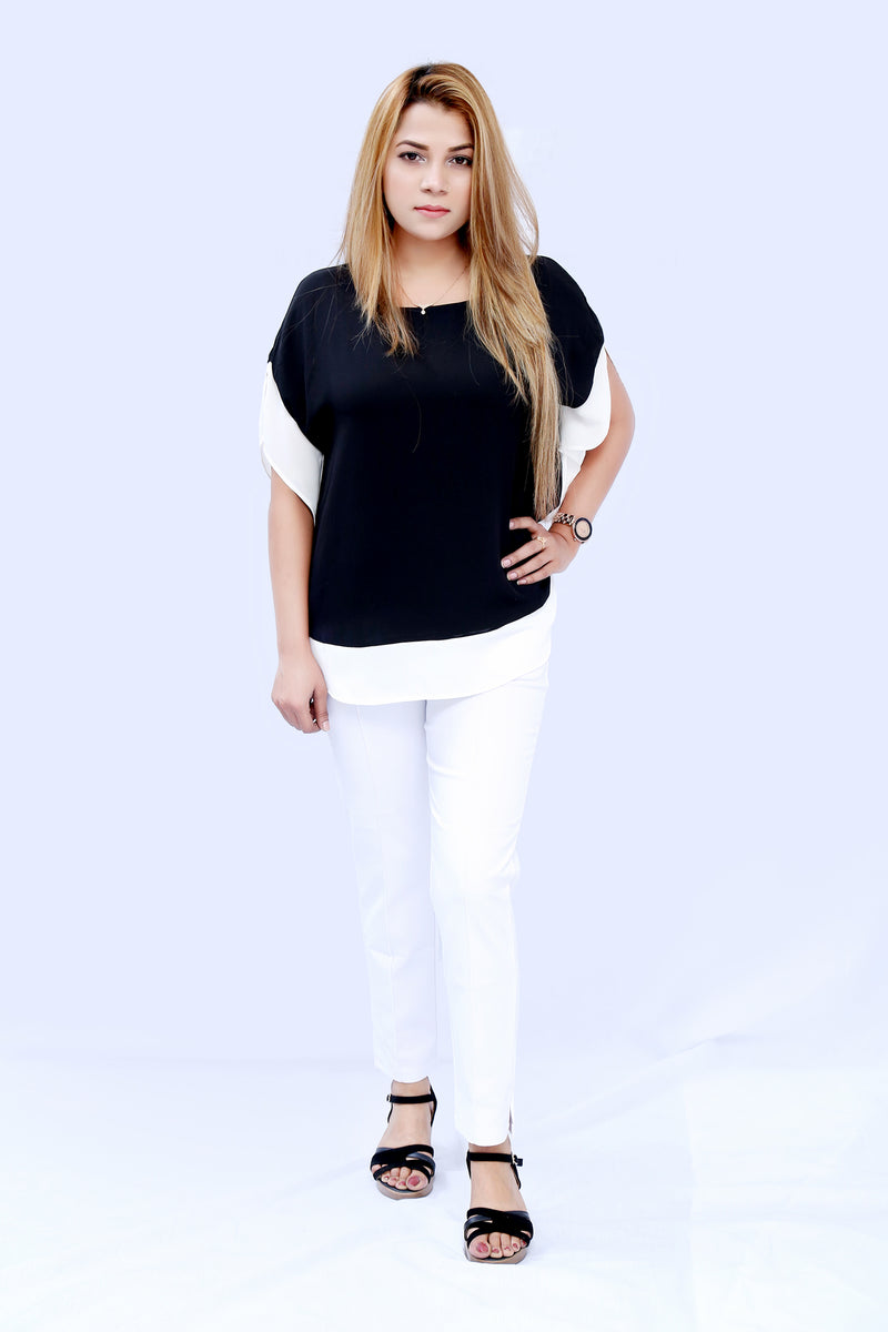 Dyed Casual Top - Black Over White