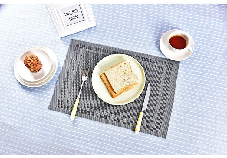Anti Slip PVC Table Place Mat - Silver Lines