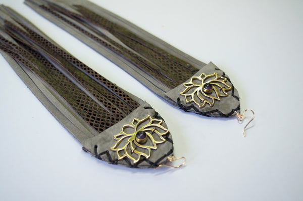 Large lotus fringe earrings