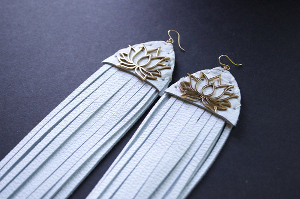 Brass lotus fringe earrings