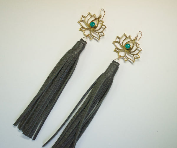 Turquoise lotus tassel earrings