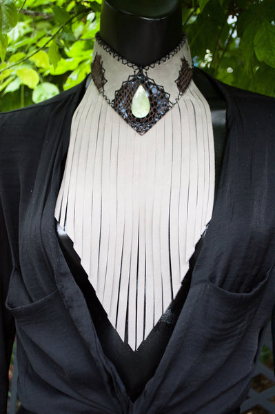 Long leather fringe choker