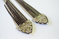 SIlver brass lotus fringe earrings