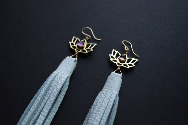 Amethyst lotus tassel earrings