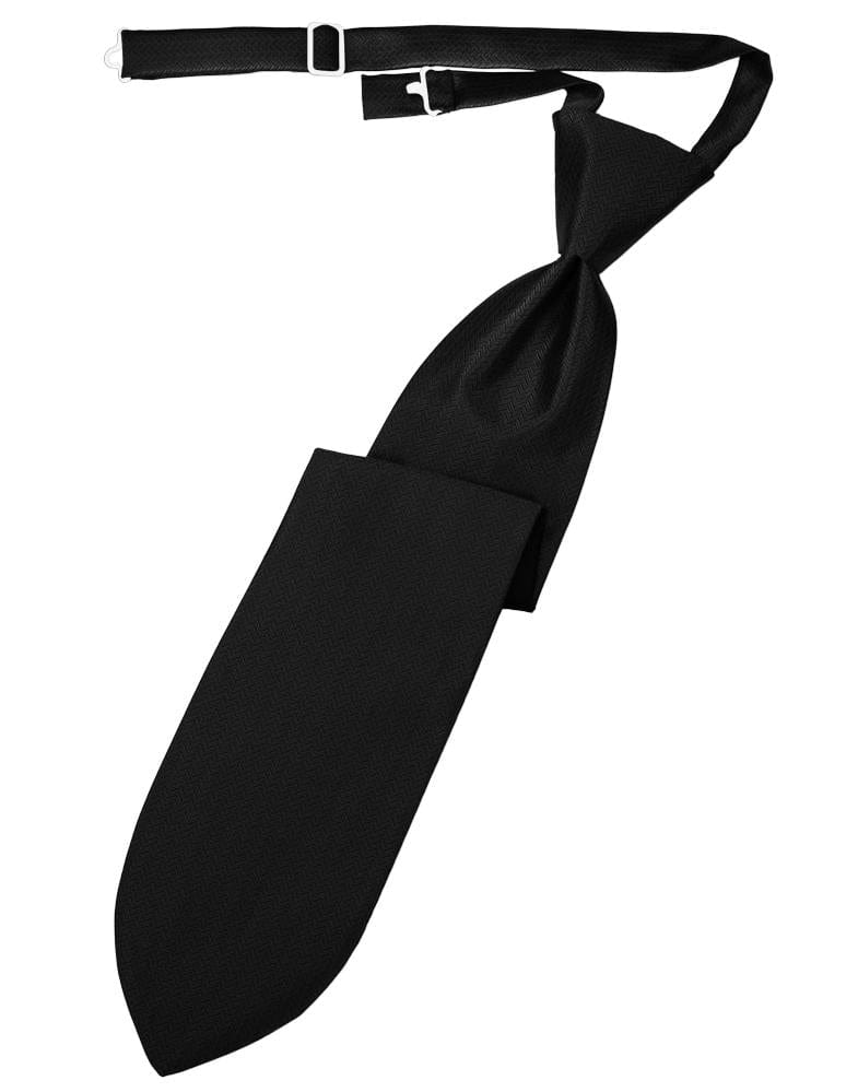 Black Herringbone Kids Necktie