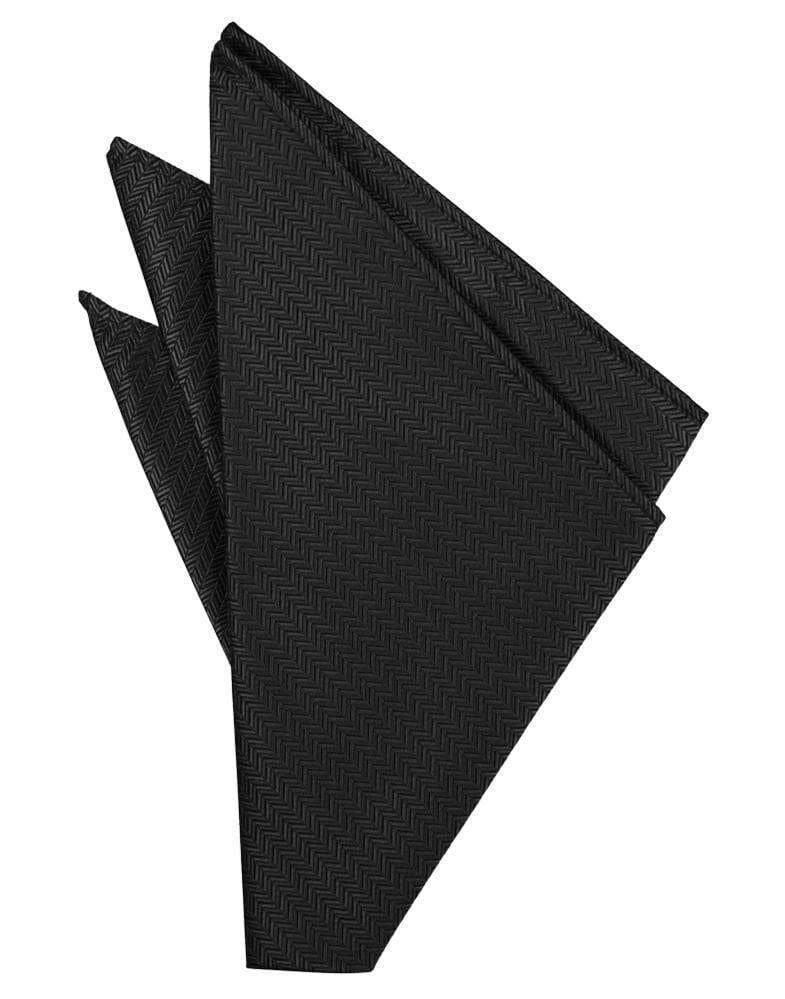 Black Herringbone Pocket Square