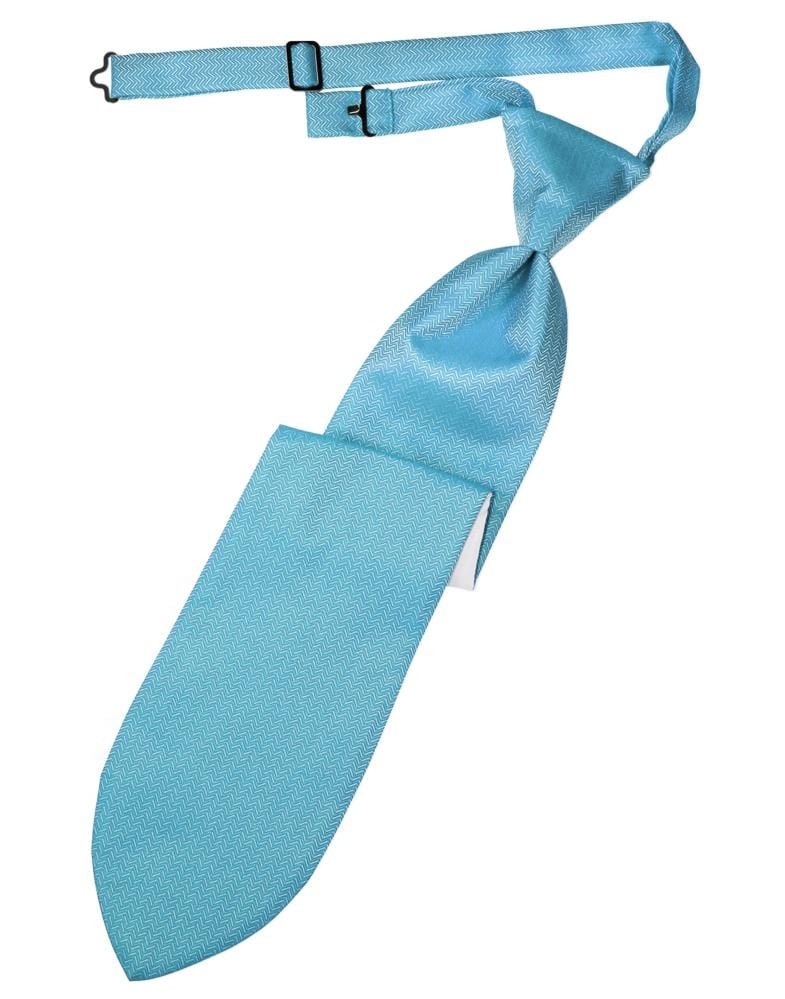 Ice Blue Herringbone Kids Necktie