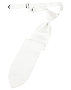 Diamond White Herringbone Kids Necktie