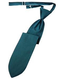 Teal Herringbone Kids Necktie