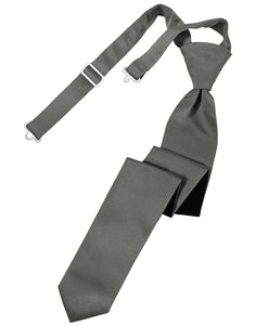 Charcoal Luxury Satin Skinny Windsor Tie