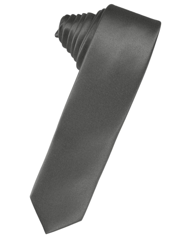 Charcoal Luxury Satin Skinny Necktie