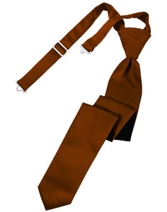 Cognac Luxury Satin Skinny Windsor Tie
