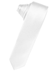 White Luxury Satin Skinny Necktie