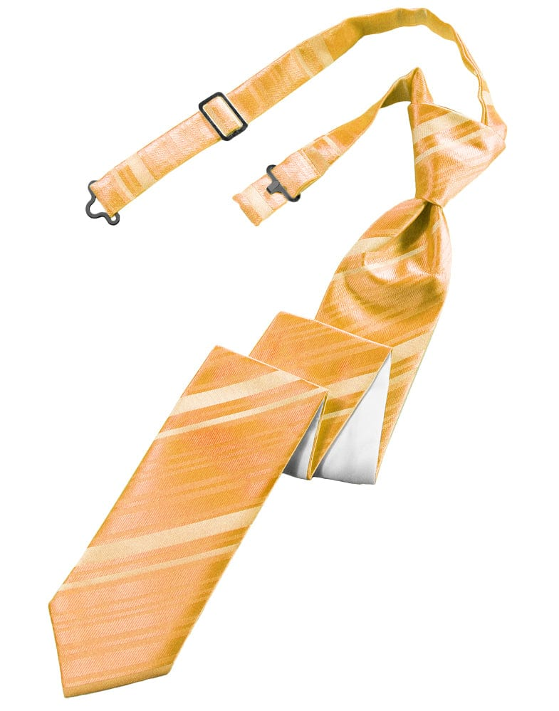 Apricot Striped Satin Skinny Windsor Tie