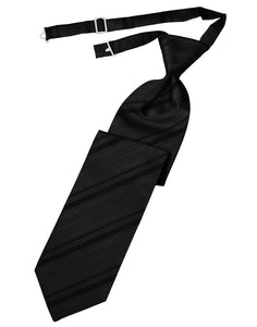 Black Striped Satin Kids Necktie