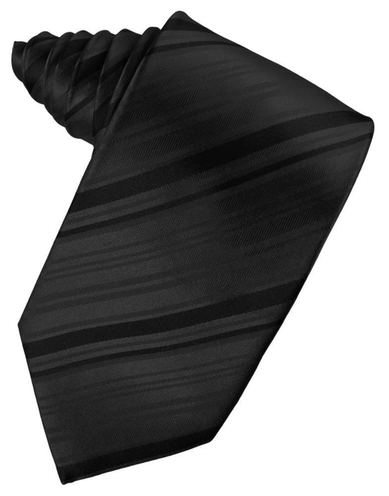 Black Striped Satin Necktie