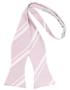 Blush Striped Satin Bow Tie