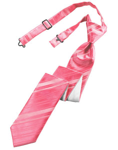 Bubblegum Striped Satin Skinny Windsor Tie