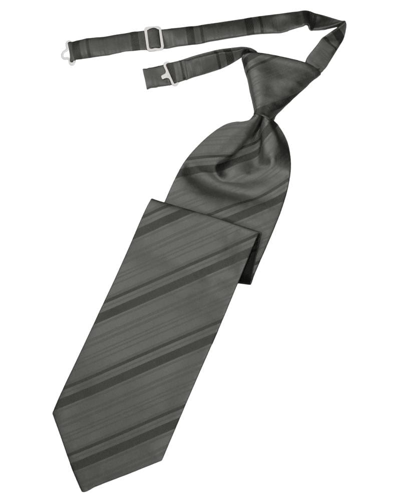 Charcoal Striped Satin Kids Necktie