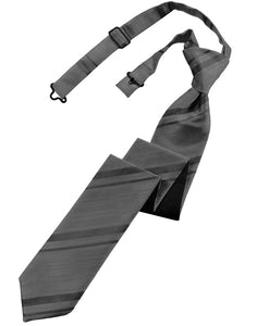 Charcoal Striped Satin Skinny Windsor Tie