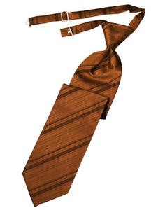 Cognac Striped Satin Kids Necktie