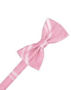 Coral Striped Satin Bow Tie