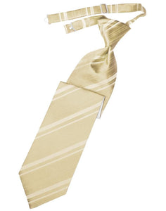 Golden Striped Satin Kids Necktie