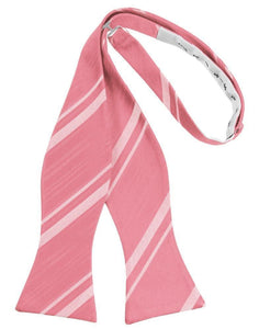 Guava Striped Satin Bow Tie