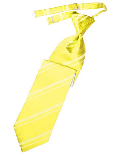 Lemon Striped Satin Kids Necktie