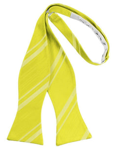 Lemon Striped Satin Bow Tie